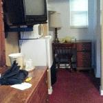 Inside the room. Small refrigerator and microwave provided.