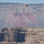 """Helicopter and """"Thunderbird"""" rock, Grand Canyon"""