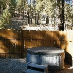 The hot tub and private seating area