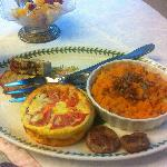  crustless quiche and sweet potato and apple casserole