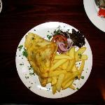 Ham and cheese omelette with fries