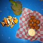 hush puppies and margarita - cute table top with fish!