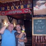 jake & jacko pointing at the everton n liverpool scarfs lol