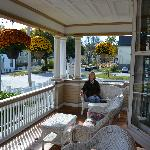Sunny morning on front porch at Munroe Inn