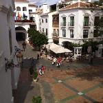 view from our studio apartment facing the main square.