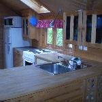 the wooden cabin kitchen