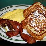 Eggs, bacon, French toast