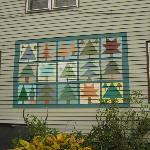 This is a quilt painted onto the side of the Farm. Anne is a quilter and will swop stories w/ y