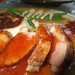 Roast duck with apricot glaze, potatoes & asparagus