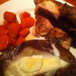 Roast chicken, glazed carrots & baked potato