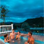 Enjoy Mountain and River Views from our Rooftop Tubs!
