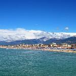 Lido di Camaiore - part of the long beach and the the Alpi Apuane mountains