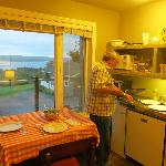 Kitchen area, notice view of Bras D'Or Lake (balcony sitting area as well)