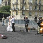 Street Performes and Newlyweds
