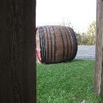 Huge wine barrel out front