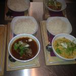 lamb curry and a Indian/Thai fusion chicken dish with basmati rice !!! delicious