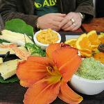  local cheese, yummy dips and beautiful plating!