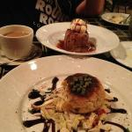 Crabcake and Bread pudding