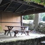 One of two picnic sheds by the mountain stream