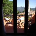 View through french window to balcony