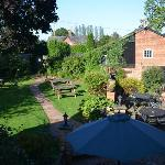 The rear beer garden as seen from the room window on the first floor
