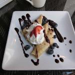 Breakfast raspberry cream crepes (third course)