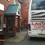 Bus blocking main entrance of hotel door