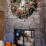 Fall fireplace in breakfast room