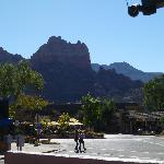 View of Snoopy Rock above the shopping street