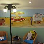 family room mural and lamp post!
