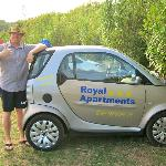 Royal Apartment's rental SMART car at the beach in Lumbarda