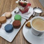 macarons and coffee with splendid view