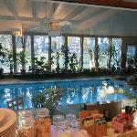 View of the indoor pool from the dining room