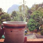 Enjoying some chai from the balcony overlooking Ella Rock