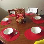 Dining Table and Chairs, Hotel placemats, crockery