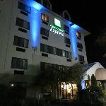 Outside hotel at night