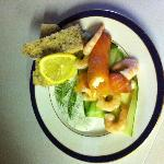 Smoked salmon rolls with salmon mousse and cucumber ribbons!