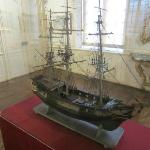 Model ship on display in the museum.