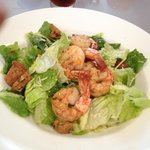 Caesar Salad with shrimp and banana (or, date) nut quick-bread croutons