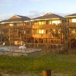 View of back of hotel from beach front