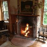 warm fire in the sitting rrom