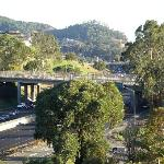 View of 101 freeway south into SF from 4th flr of Four Points San Rafael