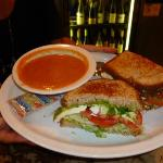  Yummy tomato pumpkin soup and turkey sandwich