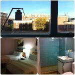 View from room, beds, bathroom (third floor)