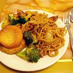  Good fried cake, noodles and broccoli not so good.
