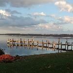 The dock on Cayuga Lake in front of the Driftwood Inn