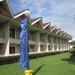 Hotel rooms with veranda facing the lawn