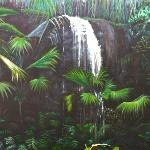  Sitting room mural depicting waterfall in Vallee de Mai