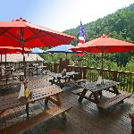 Our deck has spectacular views of the Rocky Broad River and Chimney Rock