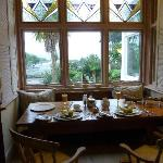 Our breakfast table looking towards Pendennis Castle & the River Fal